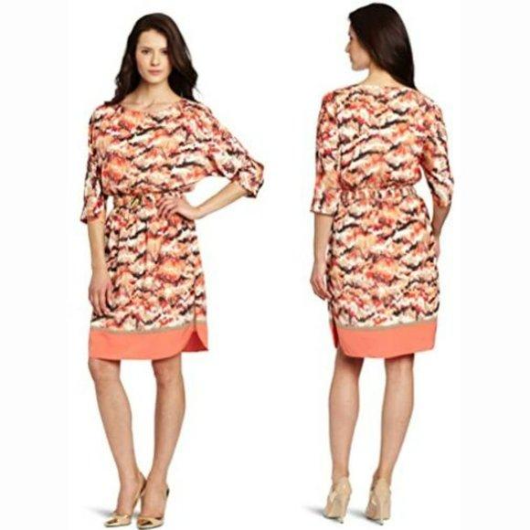 Eliza J Printed Smocked Waist Belted Dress